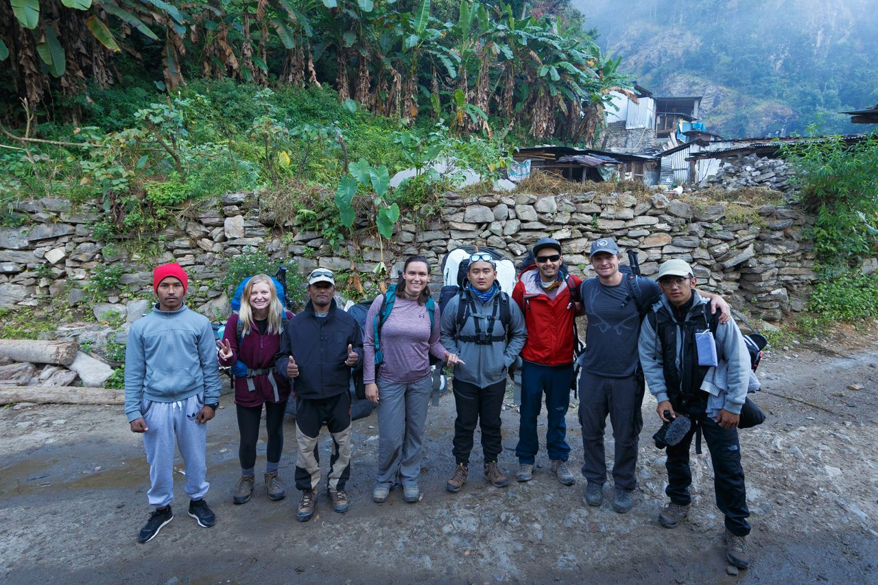 From Left to Right, Sanjay(porter) Ally, Ram(Guide) Kelsie, Shalom, Rajat, Dave, Jimmy.